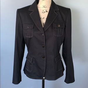 TAHARI size 8 navy jacket with white stitching